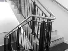 Vertical metal balustrade powder coat finish pillars and panels stainless handrail