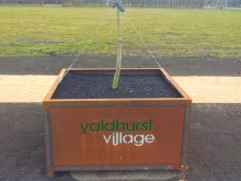 Metalcraft Engineering Corten steel planter feature Yaldhurst village Christchurch